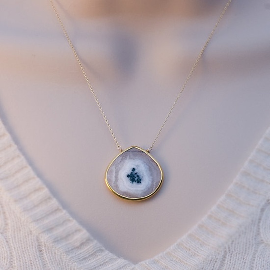 Faceted Bezel Set Solar Quartz Necklace  14k Gold by delezhen, $61.00