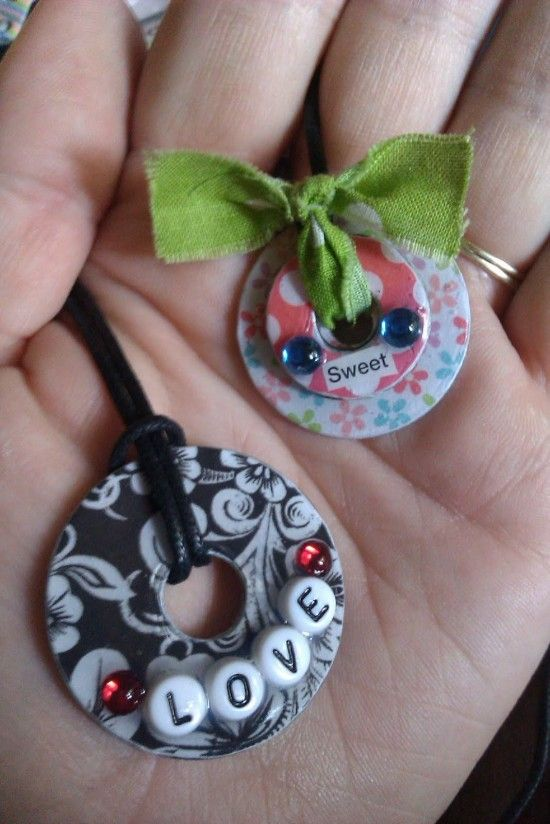 Necklaces made from Washers & Scrapbook paper!