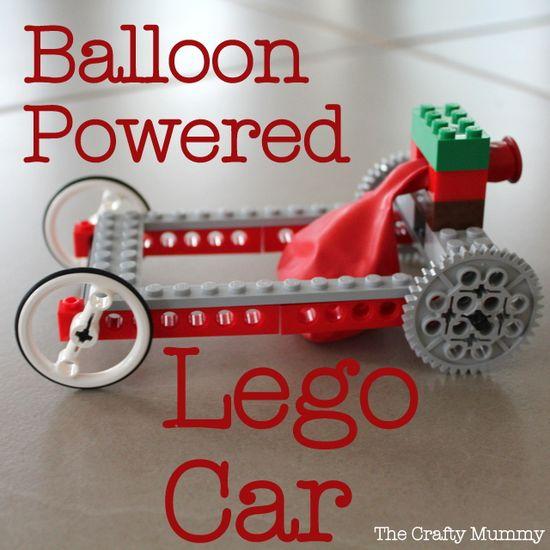 Make a LEGO car with balloon power.