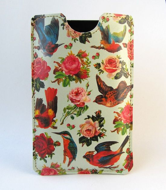 Leather iPhone case Birds and Roses design