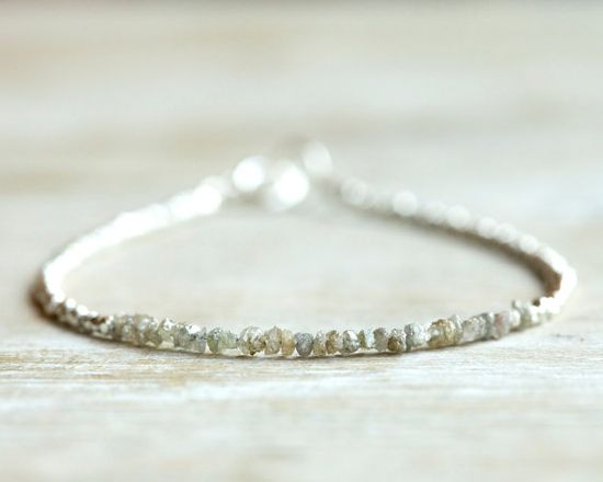Rough diamond bracelet sparkling gray raw uncut diamond by Filoe, $52.00