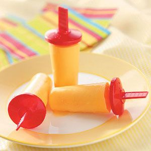 Healthy Orange Cream Pops by tasteofhome: Made with yogurt. #Orange_Cream_Pops #Kids #Yogurt #tasteofhome