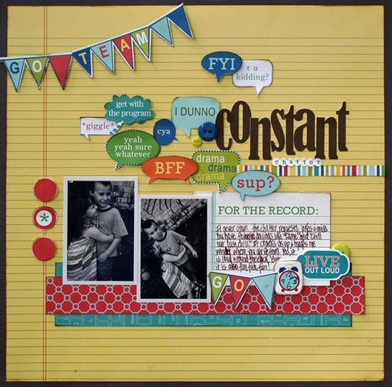Constant Chatter - Scrapbook.com - A great page that makes me smile! #scrapbooking #bellablvd
