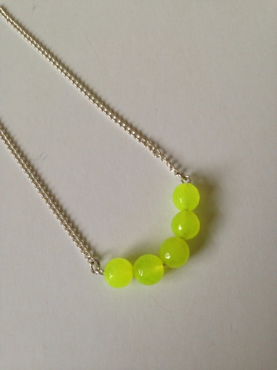 Neon Yellow Faceted Jade Beads on Silver Chain by CloudNineDesignz, $22.00