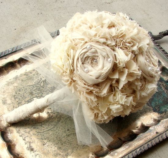 Fabric Flower Bouquet - Bouquet, Wedding, Vintage Wedding - Fabric Bouquet, Unique Wedding Bouquet - RESERVED for Adrianne. $83.00, via Etsy.