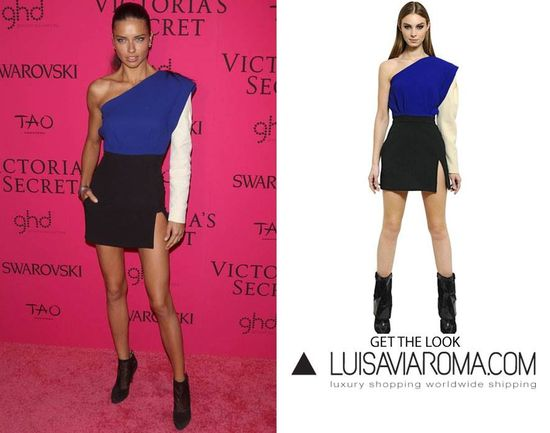 Victoria's Secret model Adriana Lima steals the show in this colour blocked dress by Emanuel Ungaro.