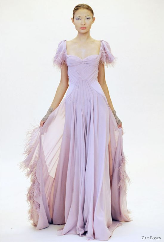 Zac Posen 2011 Resort collection : soft shades, pretty pastel dresses, lilac, lavender, purple, pink on the runway