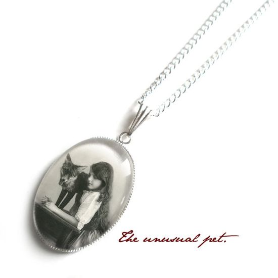 The Unusual Pet NECKLACE .. a girl with her pet fox by adorapop, $38.00