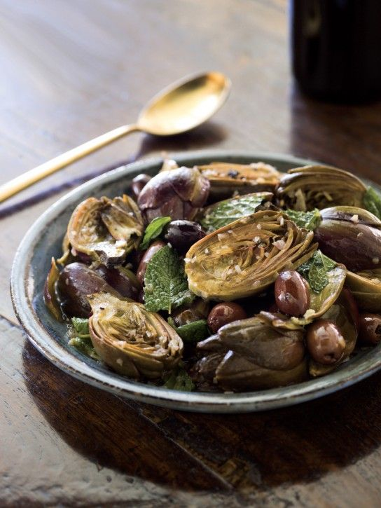 Braised Artichokes with Lemon, Mint & Olives