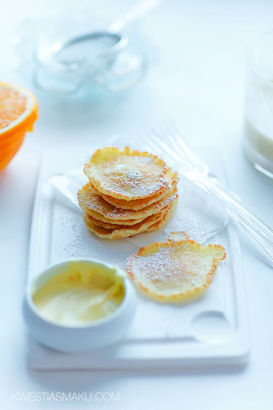 Coconut pancakes with orange mousse