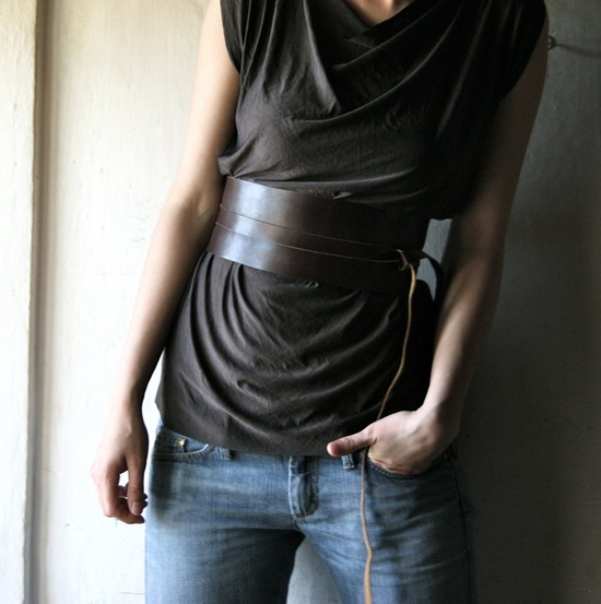 Brown Leather Obi Belt - 4 inches wide. via Etsy.
