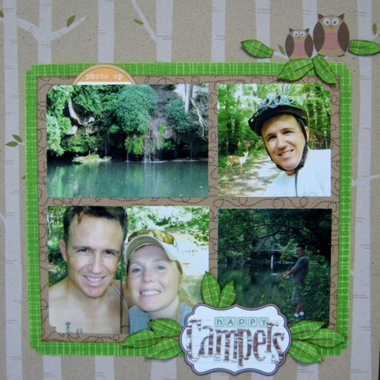 Happy Campers - Scrapbook.com - Love the colors and that background paper. #scrapbooking #layouts #jillibeansoup