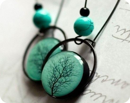 Etsy: Turquoise tree earrings