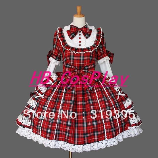 X12 Tailored Grid Bowknot Lace Princess Lolita Dress Cosplay Costume Anime Halloween Girls Womens Performance Clothing