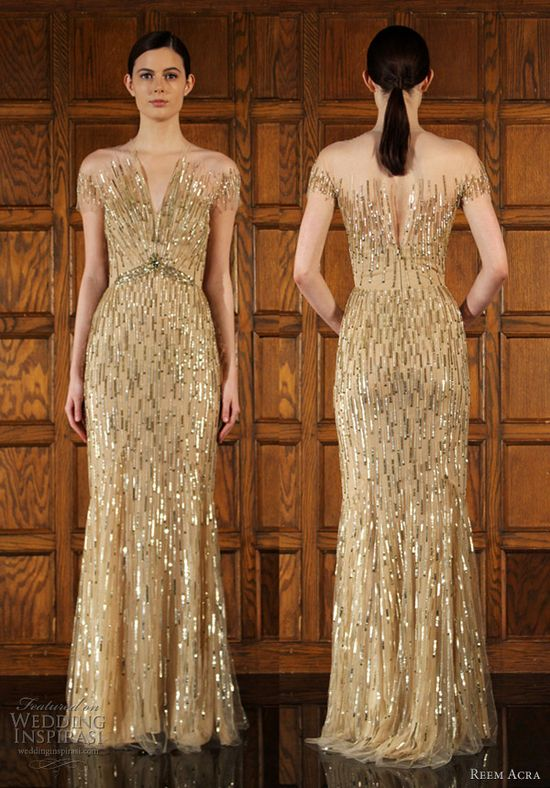 Gold illusion dress - reem acra
