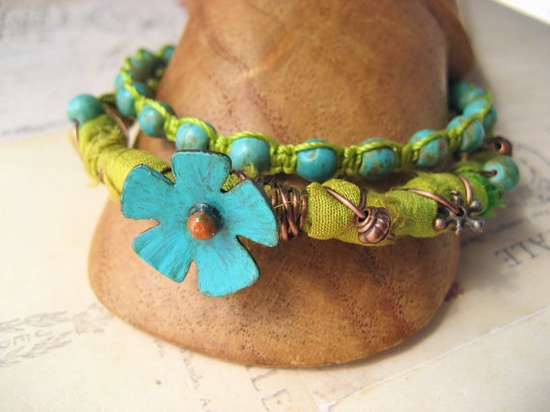 Copper Flower Sari Silk Teal and Chartreuse by KnotJustMacrame, $44.99