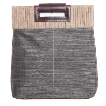 Niko Burlap Handbag in Gray.
