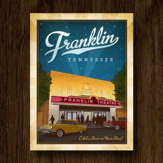 Franklin Theatre Vintage Travel Poster