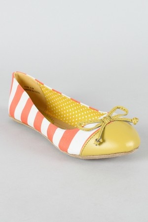 yellow and coral flats