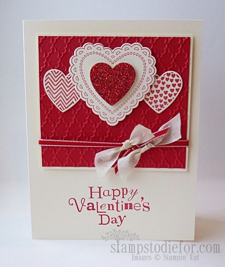 Mojo272, Hearts a Flutter, Valentines hand stamped card. www.stampstodiefo...