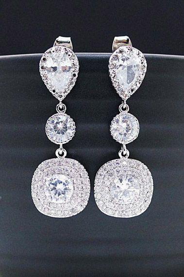 Wedding Bridal Jewelry cubic zirconia square drop Bridesmaid Gift