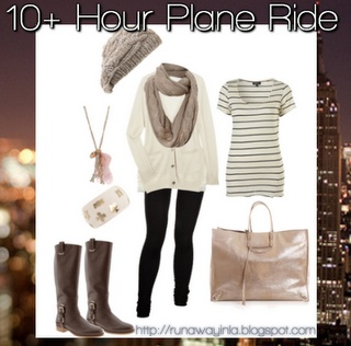 Travel outfits categorized by flight duration.