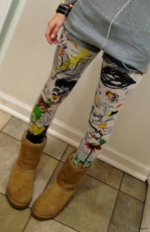Scribble Leggings - Asian Fashion #diy #fashion