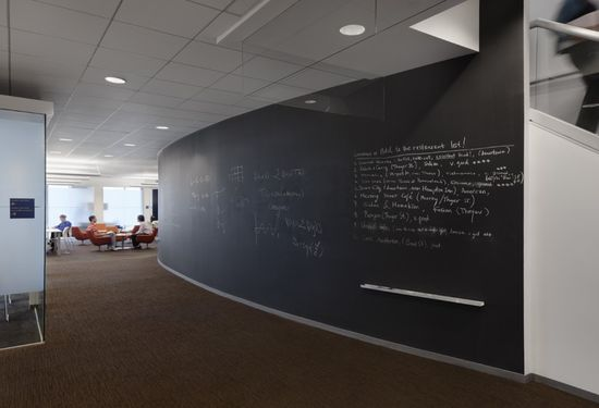 Blackboards are cooler than white boards and chalk is cheap.     Institute for Computational and Experimental Research in Mathematics, Brown University / Architecture Research Office