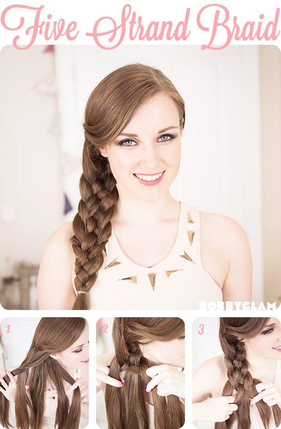 five strand braid hair tutorial