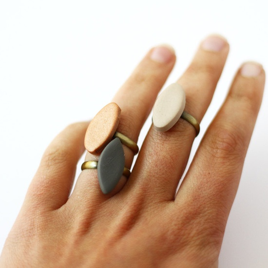 oval brass stacking rings by AMM Jewelry