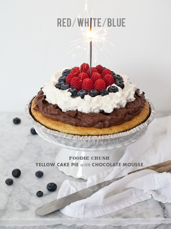 Yellow Cake Pie with Chocolate Mousse