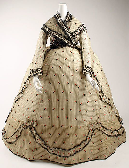 ca. 1866. British. Silk.