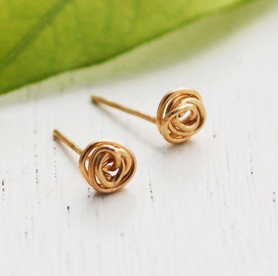 Stud earrings,  gold earrings, 14k gold filled, Gold post earrings, Gold knot post earring, tiny gold stud earring, christmas gift. $13.00, via Etsy.