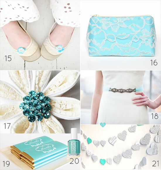 21 Tiffany Blue Wedding Ideas (via EmmalineBride.com)