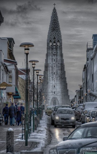 Modern Gothic Church in Reykjavik, Iceland
