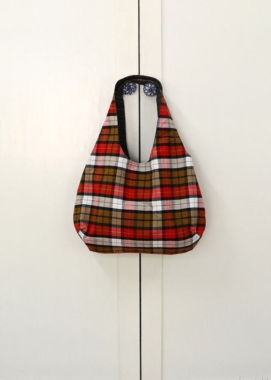 Reversible Red Plaid Tote bag  / beach bag/ travel by 464Handmade, $45.00