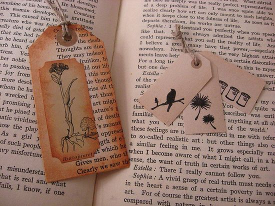 tags from recycled books