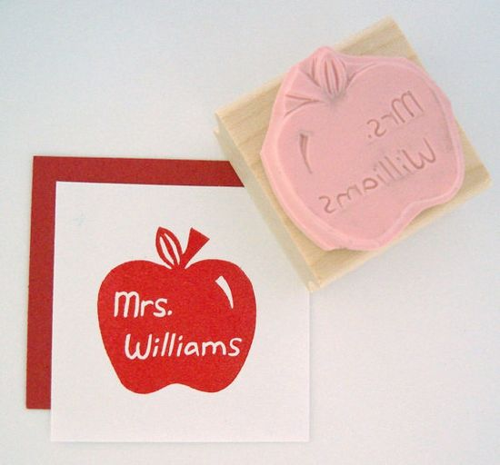 Got this for my son's preschool teacher - now other teachers at daycare want their own. A big hit!   ~ Teacher Apple Personalized Hand Carved Rubber Stamp by cupcaketree on Etsy