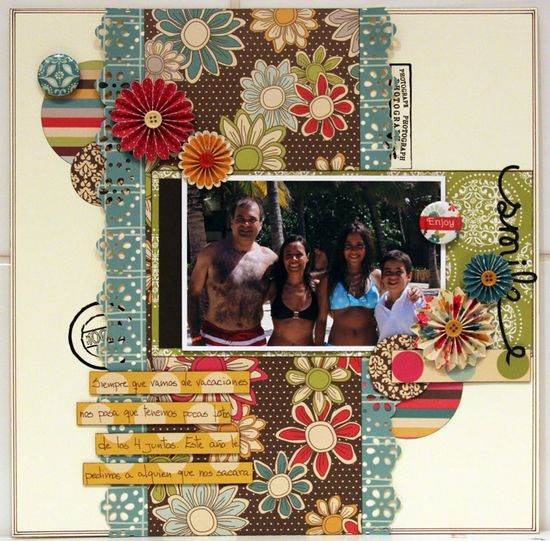 SMILE ***THE SCRAPPIEST*** - Scrapbook.com - What a fun and pretty layout. #scrapbooking #americancrafts