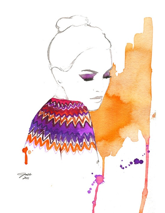 Watercolor Fashion Illustration : Missoni by JessicaIllustration