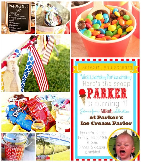 Ice Cream Birthday Party from SixSistersStuff.com.  Cute ideas for an ice cream party with links to supplies! #icecream #party #birthday