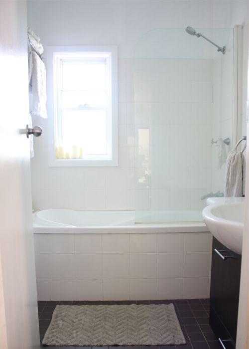 Shower, nice tub, window.