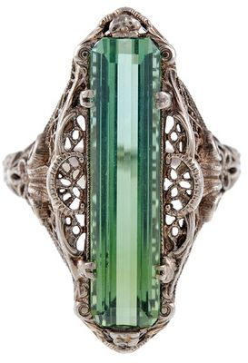 Antique green tourmaline filigree ring, circa 1880. Via Diamonds in the Library. Via Diamonds in the Library.