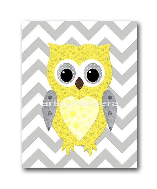 Kids wall art Owl Nursery Owl decor Baby Nursery Decor Baby Girl Nursery Kids Art Baby Room Decor Nursery Print Girl Print 8x10 yellow gray