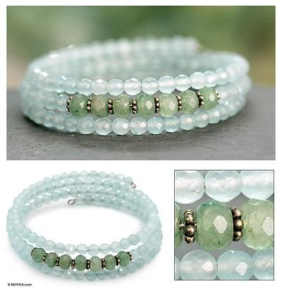 Aventurine with faceted chalcedony memory wire wrap bracelet  #handmade #jewelry I don't usually do a straight bead memory wire piece, but I saw this and the gemstones are gorgeous.