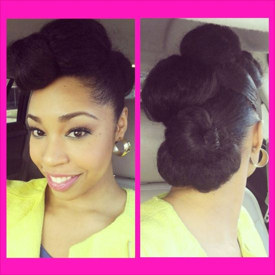 Tuck and roll updo protective style natural hair