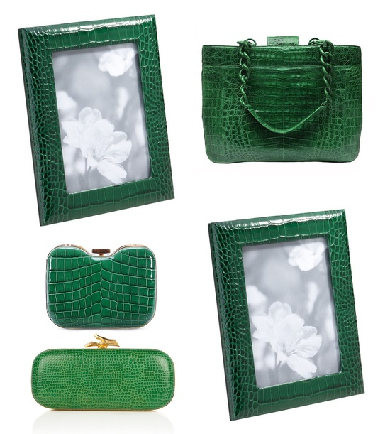 Green Crocodile Leather Photo Frames Sharing & Inspiring Hollywood Interior Design Fans With Tips & Ideas, Courtesy of InStyle-Decor.com Beverly Hills, Enjoy