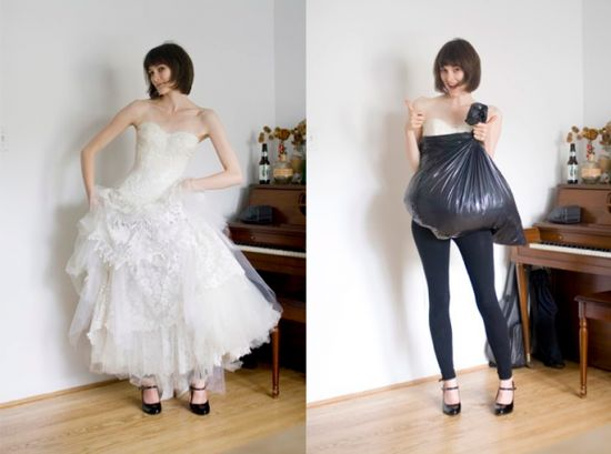 How a trash bag helps you go pee all by yourself while wearing big ol' wedding dress
