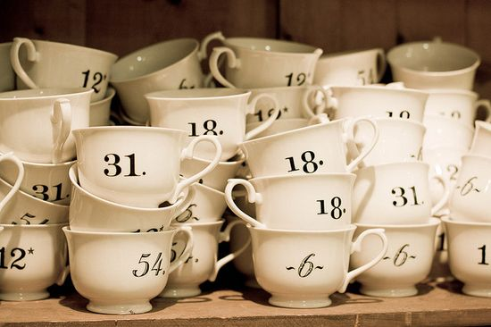 numbered cups.  interesting talking point (of course you never reveal how the numbering works.   can make math equations as well)