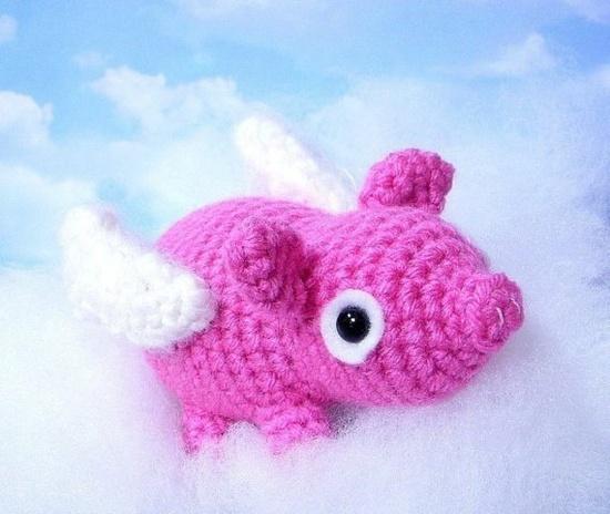 Pattern-Flying pig /piglet/Amigurumi animal doll/mobil idea